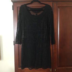 Black lace sheer overlay dress